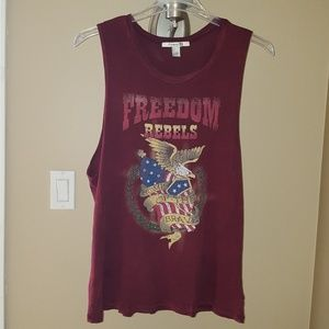 Forever 21 Muscle Top Freedom Rebels Graphic L